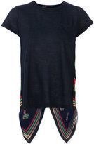 Sacai scarf panel insert T-shirt - women - Linen/Flax/Polyester - 2