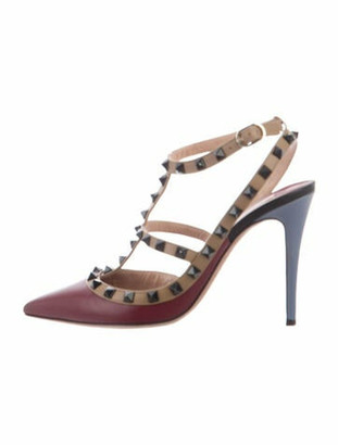 Valentino Rockstud Accents Leather T-Strap Pumps