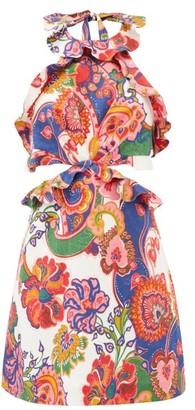 Zimmermann Halterneck Floral-print Linen-poplin Mini Dress - White Print