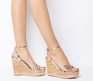 Office Honcho Strappy Glam Cork Wedges Rose Gold