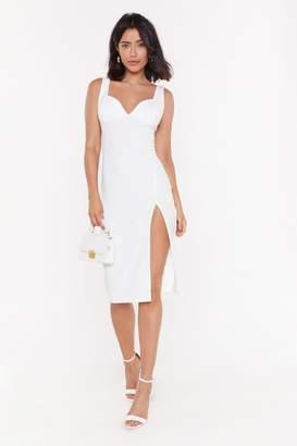 Nasty Gal Womens Plunge Down Midi Dress - white - 10