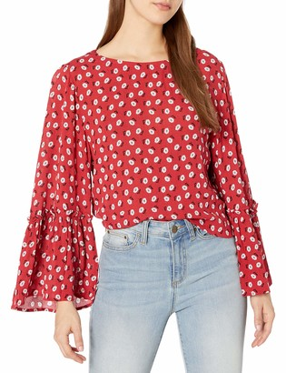 Jack by BB Dakota Junior's Drive me Daisy Printed Button Back top with Wide Sleeves
