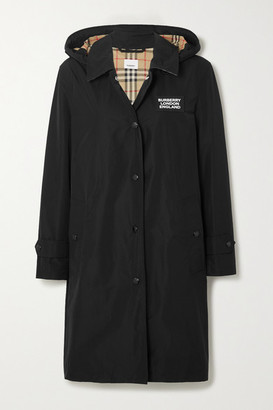 Burberry Hooded Appliqued Shell Raincoat - Black
