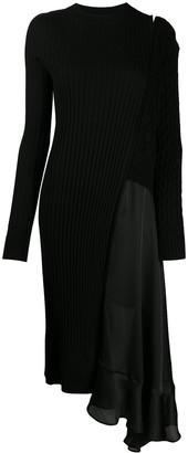 Sacai Contrast Panel Asymmetric Hem Dress