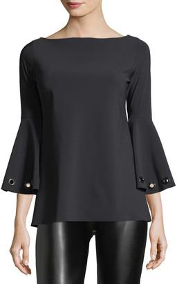 Chiara Boni Nelia Bateau-Neck Bell-Sleeve Top