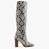 J.Crew High-heel knee boots in snakeskin-printed leather