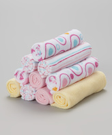 SpaSilk Pink & Yellow Circle Washcloth Set