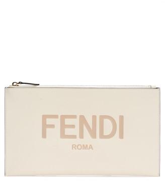 Fendi Logo Zip Leather Pouch