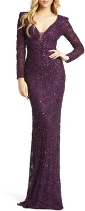 Mac Duggal Sequin & Pearl Beaded Long Sleeve Gown