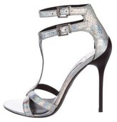 Brian Atwood Holographic Multistrap Sandals