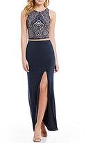 Jump Glitter Pattern Top Two-Piece Long Dress