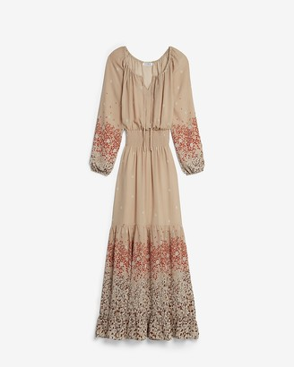 Express Printed Tiered Long Sleeve Maxi Dress