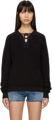 Saint Laurent Black Laced V-Neck Sweater