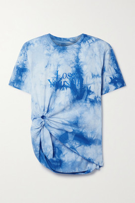 Paco Rabanne Peter Saville Knotted Printed Tie-dyed Cotton-jersey T-shirt - Blue