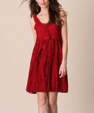 Pretty Angel Women's Casual Dresses BURGUNDY - Burgundy Lace Silk-Blend Popover Dress - Women