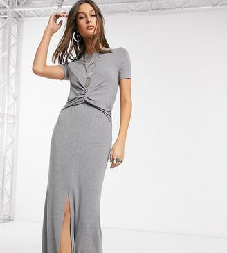 Asos Tall DESIGN Tall twist front maxi dress in gray