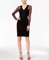 Calvin Klein Illusion-Sleeve Ponte Sheath Dress