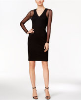 Calvin Klein Petite Illusion-Sleeve Ponte Sheath Dress
