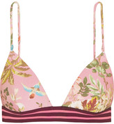 Zimmermann Tropicale Floral-print Triangle Bikini Top - Baby pink