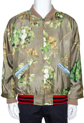 Gucci Multicolor Silk Blooms Print Reversible Bomber Jacket XXXL