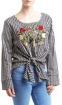 Romeo & Juliet Couture Gingham Floral Embroidered Blouse