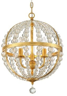 Rosdorf Park Gateshead 3 - Light Unique Sphere Chandelier With Beaded Accents