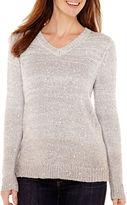 Liz Claiborne Long-Sleeve V-Neck Ombr Sweater