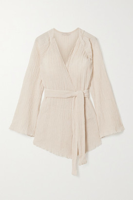 Savannah Morrow The Label The India Belted Crinkled Organic Cotton-gauze Kimono - Cream