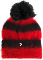 Dondup fluffy striped beanie