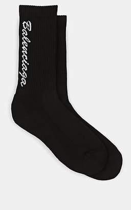 Balenciaga Men's Logo Cotton-Blend Mid-Calf Socks - Black