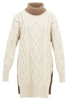 Joseph Oversized Roll-neck Cable-knit Wool-blend Sweater - Womens - Beige White