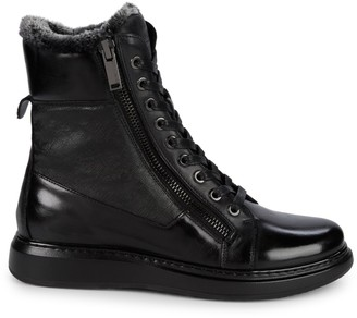 Karl Lagerfeld Paris Faux Fur-Lined Leather Boots