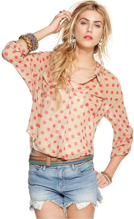 Free People Top, Long-Sleeve Collar Polka Dot-Printed Blouse