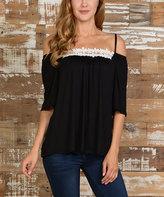 Celeste Black Strap Shoulder Cutout Top - Plus