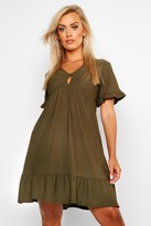 boohoo Plus Ruffle Detail Smock Dress