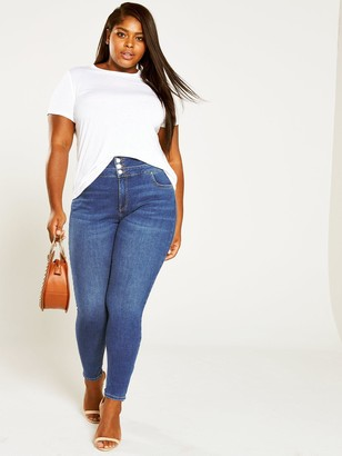 V By Very Curve Shaping High Waisted Skinny Jeans