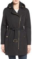 MICHAEL Michael Kors Petite Women's Asymmetrical Zip Front Hooded Trench Coat