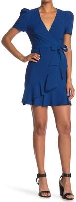 Betsey Johnson Side Tie Faux Wrap Mini Dress