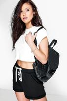 boohoo Katie Lace Up Jogger Style Shorts black