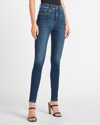 Express High Waisted Denim Perfect Dark Wash Skinny Jeans