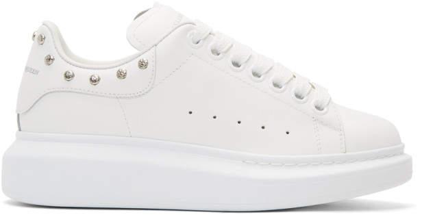 Alexander McQueen White Studded Oversized Sneakers