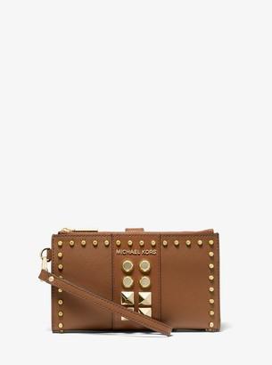 MICHAEL Michael Kors Adele Studded Saffiano Leather Smartphone Wallet