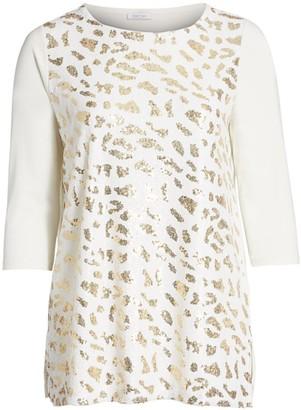 Joan Vass, Plus Size Sequin Leopard Print Tunic