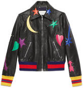 Gucci Intarsia leather bomber jacket