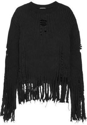 Balmain Distressed Ribbed Wool Sweater