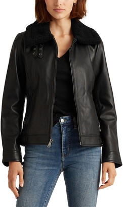 Lauren Ralph Lauren Leather Jacket with Faux Fur Collar