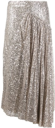 Rochas Draped Sequin Midi Skirt
