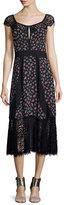 Nanette Lepore Cap-Sleeve Floral Silk & Lace Midi Dress, Black