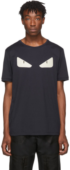Fendi Navy Leather Bag Bugs T-Shirt