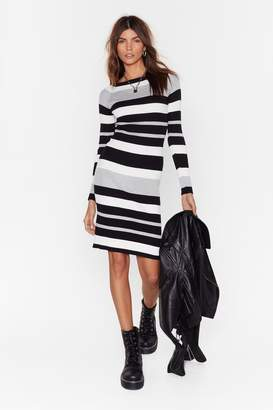 Nasty Gal Womens On The Horizon Striped Knit Dress - Grey - S/M